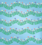 Grass and flower funny pattern background Royalty Free Stock Images