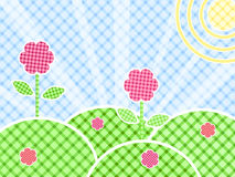 Grass And Flower On Green Meadow. In Patchwork Style. Illustration Stock Photos