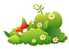Grass, flower and mushroom