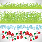Grass and flowers borders Royalty Free Stock Image