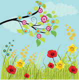 Grass with Flowers and branch. Illustration background Royalty Free Stock Photography