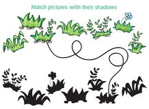 Grass and flowers cartoon - game for children Stock Photography