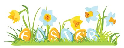 Grass and flowers with decorative eggs Royalty Free Stock Photo