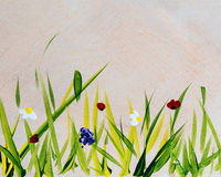 Grass and flowers painted on wooden background Royalty Free Stock Photos