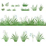 Grass and flowers, seamless, and sets Stock Images
