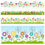 Grass and flowers set. Floral seamless patterns. royalty free illustration