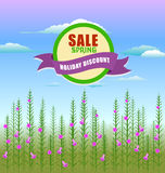 Grass With Flowers Set. Vector Illustration Royalty Free Stock Photo