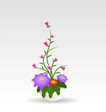 Grass With Flowers Set. Vector Illustration Stock Photos