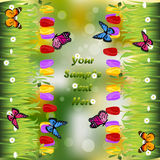 Grass with flowers. Very high quality original trendy illustration of grass with flowers, tulip and butterfly frame for text or card Stock Images