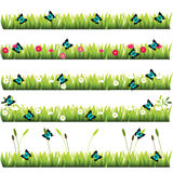 Grass with flowers. Very high quality original trendy set of grass with flowers and butterflies Stock Photography