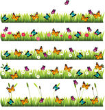 Grass with flowers. Very high quality original trendy set of grass with flowers and butterflies Stock Photo