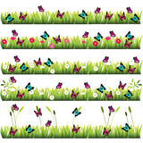 Grass with flowers. Very high quality original trendy set of grass with flowers and butterflies Stock Image