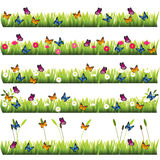 Grass with flowers. Very high quality original trendy set of grass with flowers and butterflies Royalty Free Stock Photos