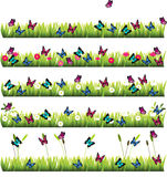 Grass with flowers. Very high quality original trendy set of grass with flowers and butterflies Royalty Free Stock Image