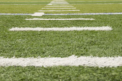 Grass football field markers Royalty Free Stock Photos