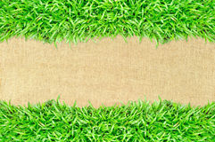 Grass frame on burlap texture background Royalty Free Stock Photography
