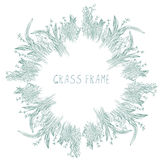 Grass frame with herbs and leaves hand drawn Stock Photography