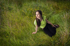 Grass girl, summer dreams Royalty Free Stock Photos