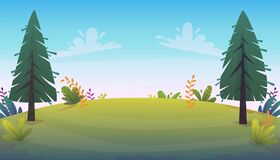 Free Grass Glade Lawn In The Forest Background,  Joyful Bright Kids Green Field, Cartoon Style Hill Summer Sun Clear Sky With Clouds Stock Photos - 182038103