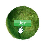 Grass globe. Grass globe with join button and mouse cursor Royalty Free Stock Photo