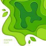 Grass green abstract layout - vector paper cut illustration. With place for your header and information. Gradient 3d effect design. High quality carving art stock illustration