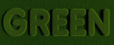 Grass GREEN. Word GREEN written with grass Royalty Free Stock Images