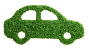 Green grass eco car isolated Royalty Free Stock Photos