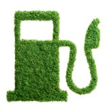 Green grass eco gas station isolated Royalty Free Stock Photos