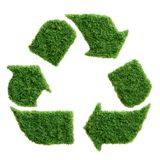 Green grass eco recycle symbol isolated. Grass growing in the shape of a recycle sign. Protect the environment and reconnect with nature concept stock illustration