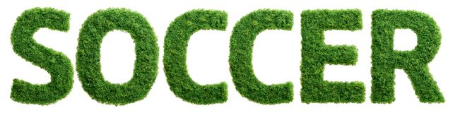 Grass growth soccer letters isolated Royalty Free Stock Image