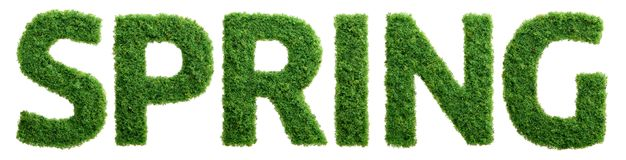 Grass growth spring letters isolated Stock Photos