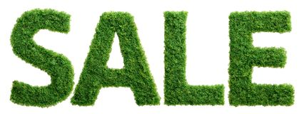 Grass growth sale letters isolated Royalty Free Stock Photo
