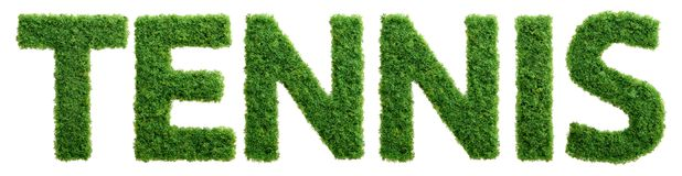 Grass growth tennis letters isolated Stock Images
