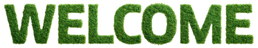 Grass growth welcome letters isolated Stock Images