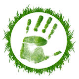 Grass and handprint Royalty Free Stock Image