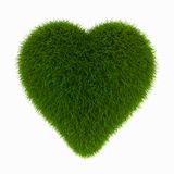 Grass heart. 3d render on white Stock Photography