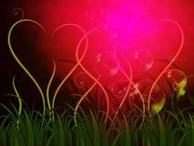 Grass Heart Background Shows Romantic Summer Or Garden Stock Image