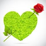 Grass Heart with Rose Arrow Stock Photos