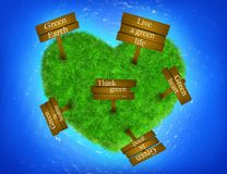 Grass heart-shaped island with signs Stock Images