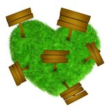 Grass heart with wooden signs Royalty Free Stock Image