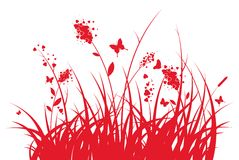 Grass with hearts and butterflies Royalty Free Stock Image