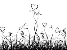 Grass and hearts, vector Stock Images