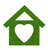 Grass home icon from grass background, isolated on white Royalty Free Stock Photography