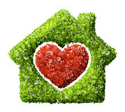 Grass home icon from grass background, isolated Royalty Free Stock Image