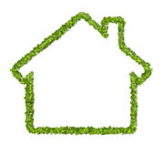 Grass home icon from grass background, isolated Stock Images