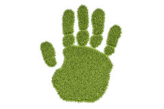 Grass human hand print, 3D rendering Stock Photo