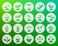 Grass shape carved flat icons vector set royalty free illustration