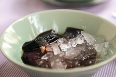 Grass jelly or Chinese vegetable jelly black in color, Chinese d. Bangkok, Thailand - Mar 19, 2012 : Grass jelly or Chinese vegetable jelly black in color Royalty Free Stock Photography