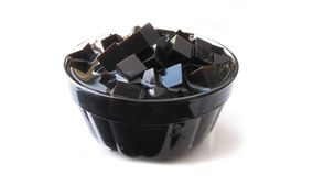 Grass Jelly dessert in glass bowl stock photo