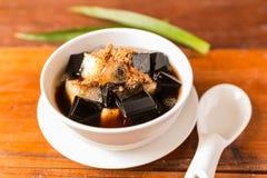 Grass jelly dessert herbal gelatin or jelly black Stock Images